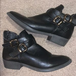 mossimo black short booties with gold buckles